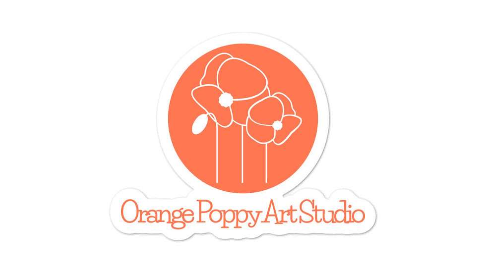 Orange Poppy Art Studio Stickers