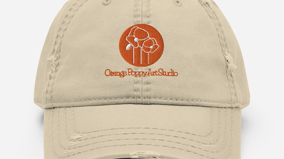 Distressed Orange Poppy Art Studio Hat