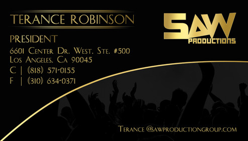 SAW Productions Business Card (Terance).