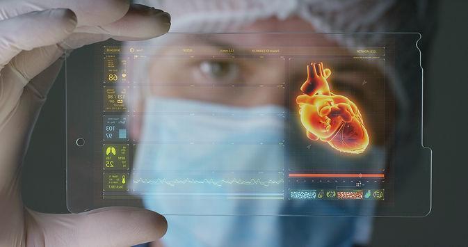 A futuristic physician, a surgeon, exami
