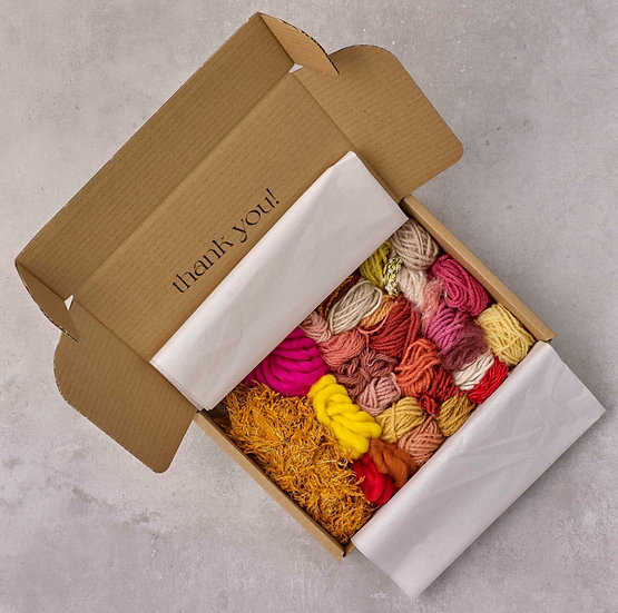 Orange, Pink and Yellow Yarn Bundle with Weaving Instruction Bookle