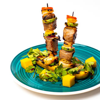 Fresh Tuna and Jumbo Shrimp Kebabs SR 85