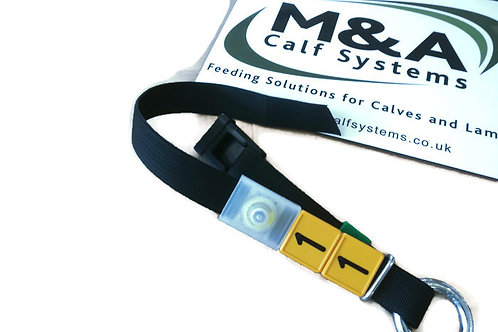 Forster Tecknik Calf Feeder Neck Collars with Button Transponder and Number