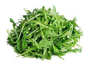 Arugula salad isolated white close up.jp