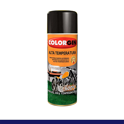 TINTA SPRAY COLORGIN ALTA TEMPERATURA 5722 PRETO FOSCO 350ML