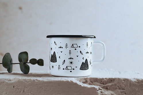 Enamel Mug // Wanderlust pattern illustration