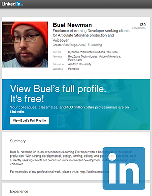 Online portfolio of Buel Newman, freelance Instructional Designer / Multimedia Creator focused on eLearning development, audio/video production, and voiceover.