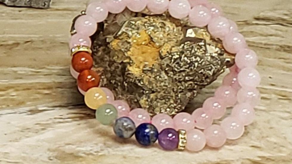 7 Chakra w Rose Quartz Bracelet
