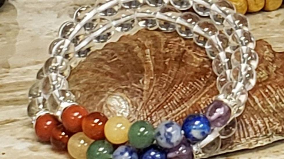 7 Chakra w Quartz Bracelet