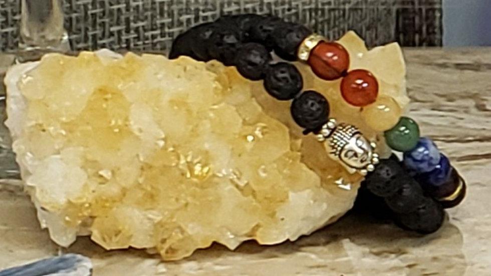 Lava Bead w Buddha Bracelet