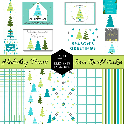 Holiday Pines Digital Cards & Papers