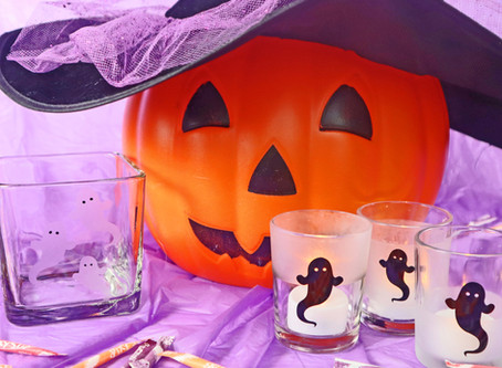 Dollar Store Etched & Vinyl Halloween Glassware