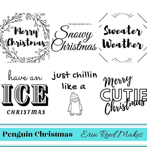 Penguin Christmas Printable Sentiments