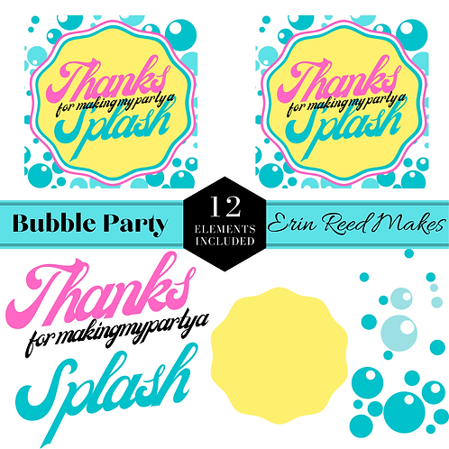 """Bubble Party"" Printable Cards & Cut Files"