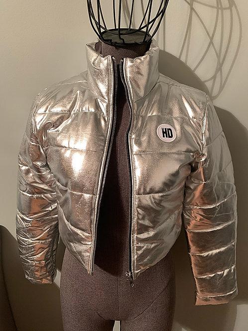 Metallic Crop Puff Coat