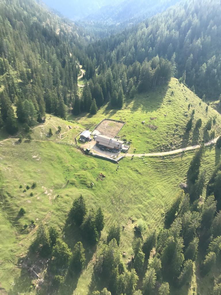 Luftaufnahme von der Oberbrunn Alm