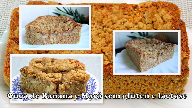 Cuca de Banana e Maçã sem glúten e lactose