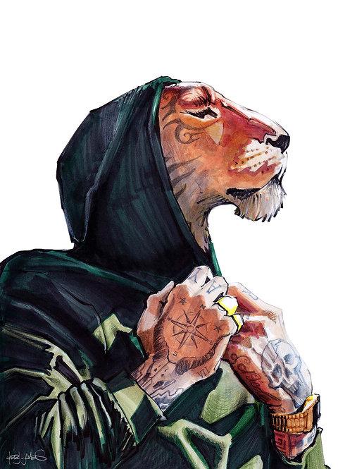 Lion Tatoué - Print A4
