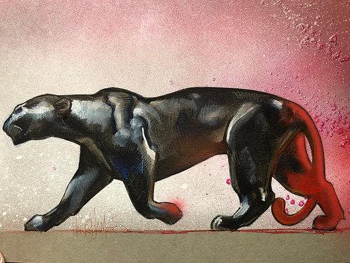 Panthère noire en marche - Original