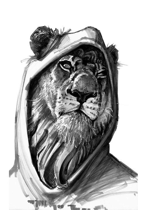 Lion à capuche - Print A5