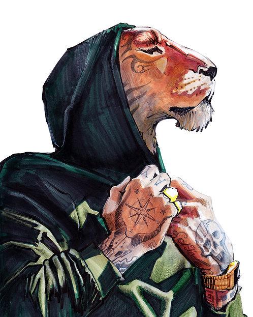 Lion tatoué - Original A4