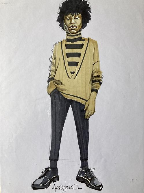 Silhouette afro rayures - Original