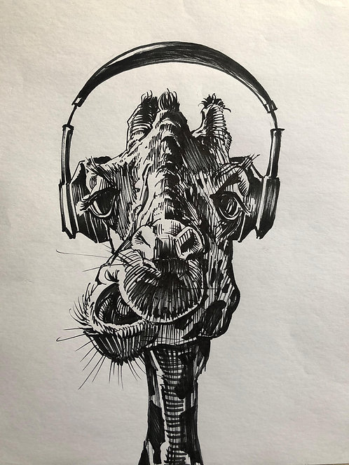 Girafe au casque - Original
