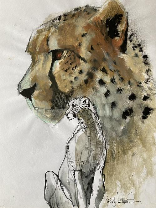 Tête guépard de profil - Original