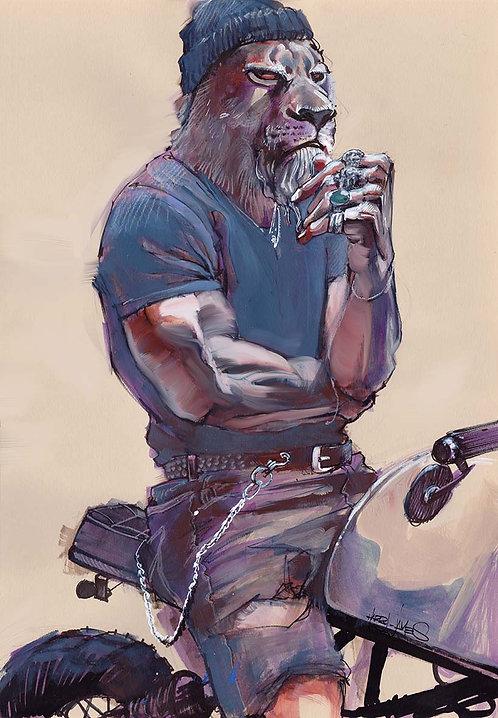 Lion Biker - Print A4