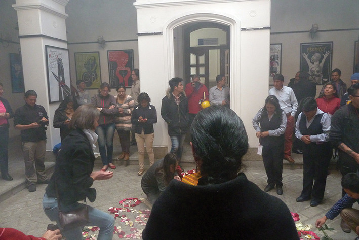 A celebration of the summer solstice and Pachamama (Mother Earth) at the Museum of the City of Riobamba during Luba Lukova: Diseño de Justicia exhibition.