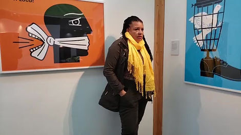 Hollis King speaks with storyteller Tammy Hall at Luba Lukova: Designing Justice exhibition