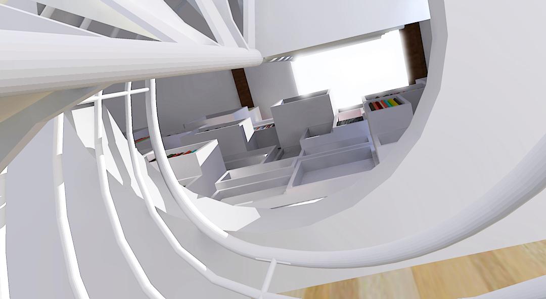 Vue depuis l'escalier (3D)