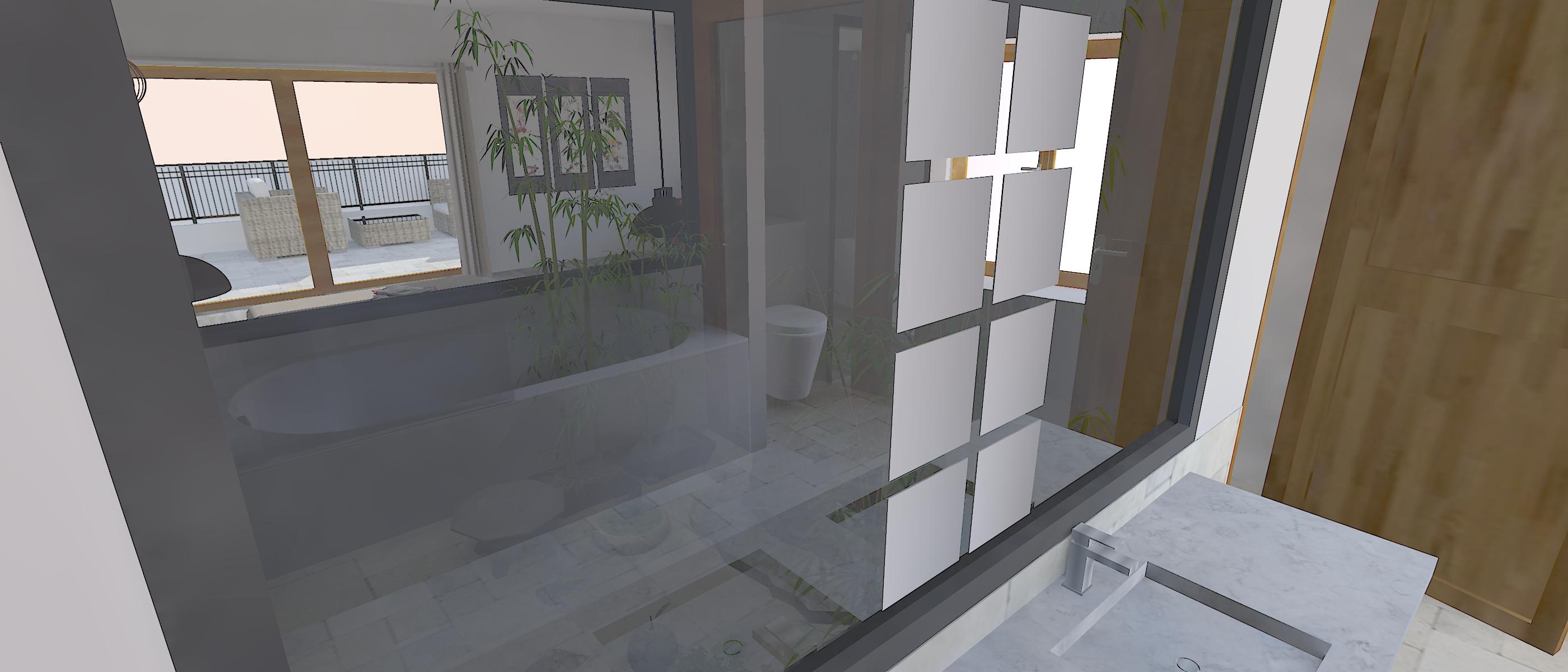 Salle de bain sur patio
