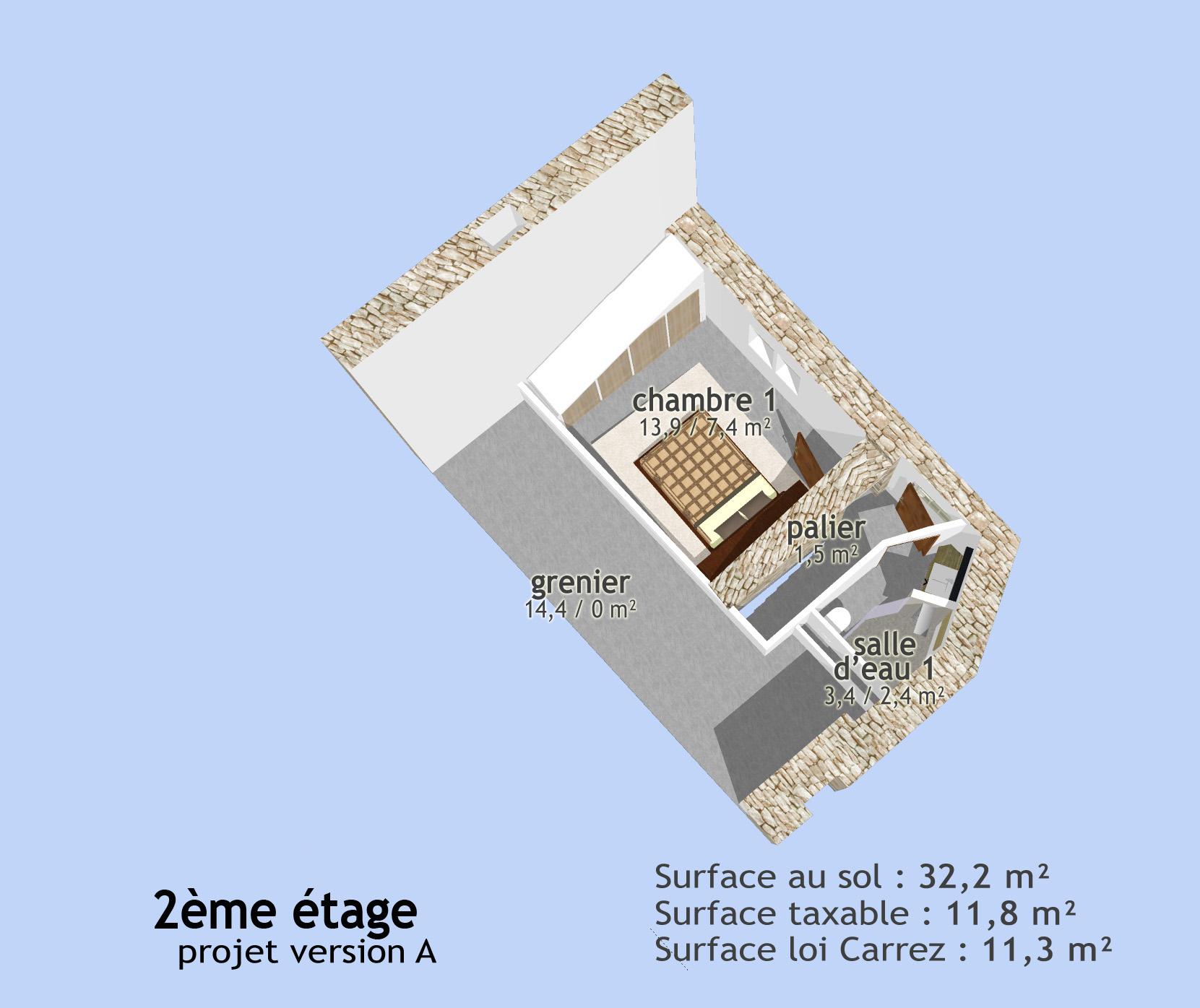 Plan 3D du 2ème étage