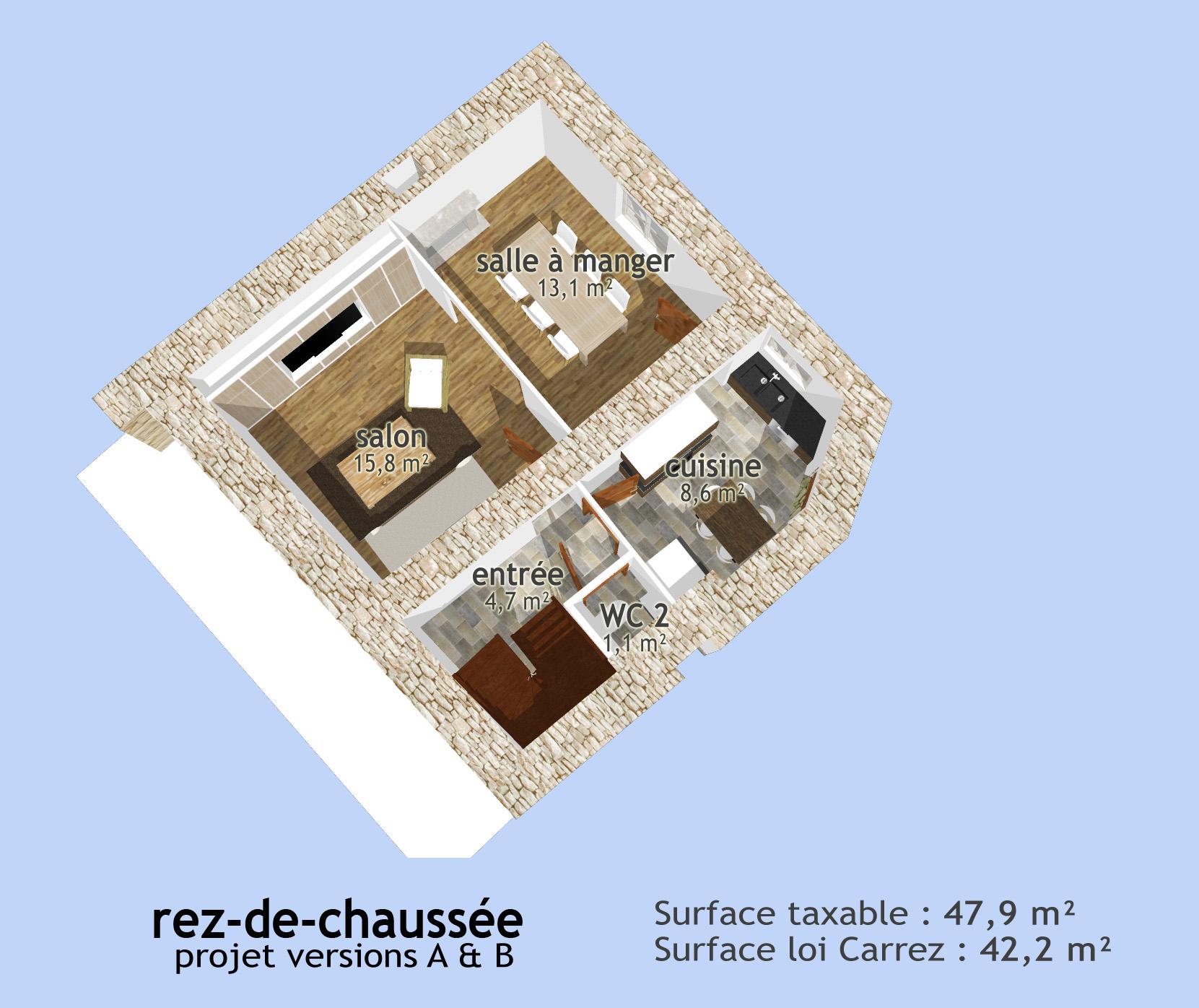 Plan 3D du rez-de-chaussée