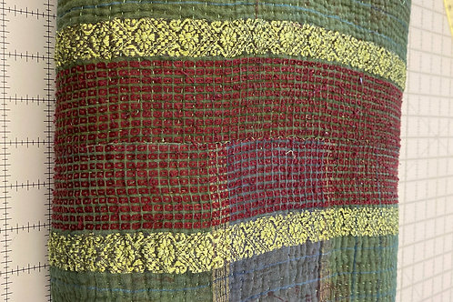 Exquisite Vintage Quilt - Green with Stripe