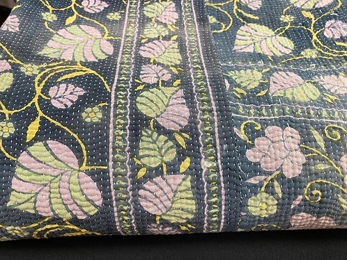 Exquisite Vintage Quilt - Grey with Pink & Green Leaves