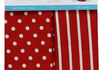 KimberBell TEA TOWEL DOTS & STRIPES RED