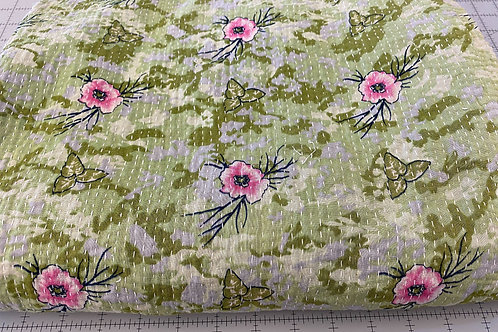 Exquisite Vintage Quilt - Sea Green with Pink Flowers