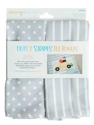 KimberBell TEA TOWEL DOTS & STRIPES GRAY