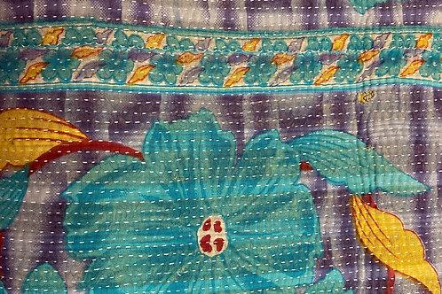 Exquisite Vintage Quilt - Light Blue/Green Floral