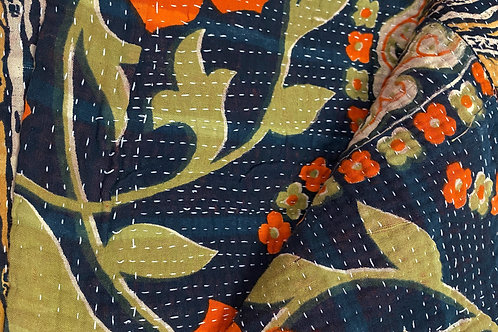 Exquisite Vintage Quilt - Navy/Orange Floral