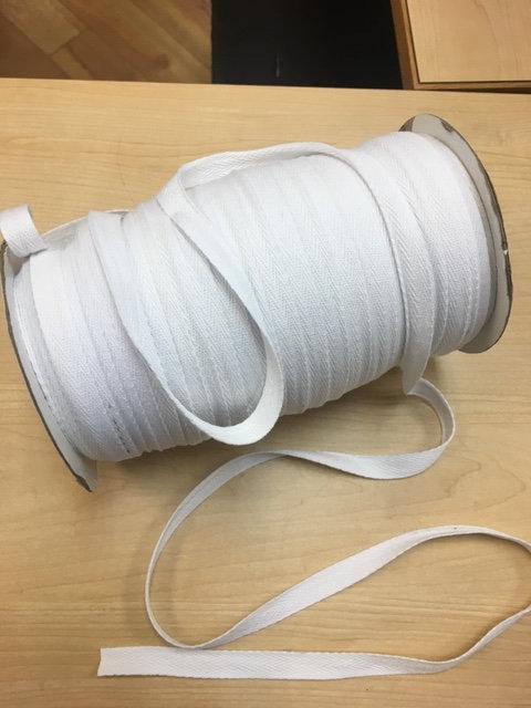 """Cotton Twill Tape 1/2"""" White-10yd pkg"""
