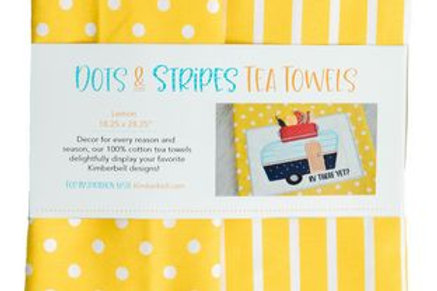 KimberBell TEA TOWEL DOTS & STRIPES LEMON