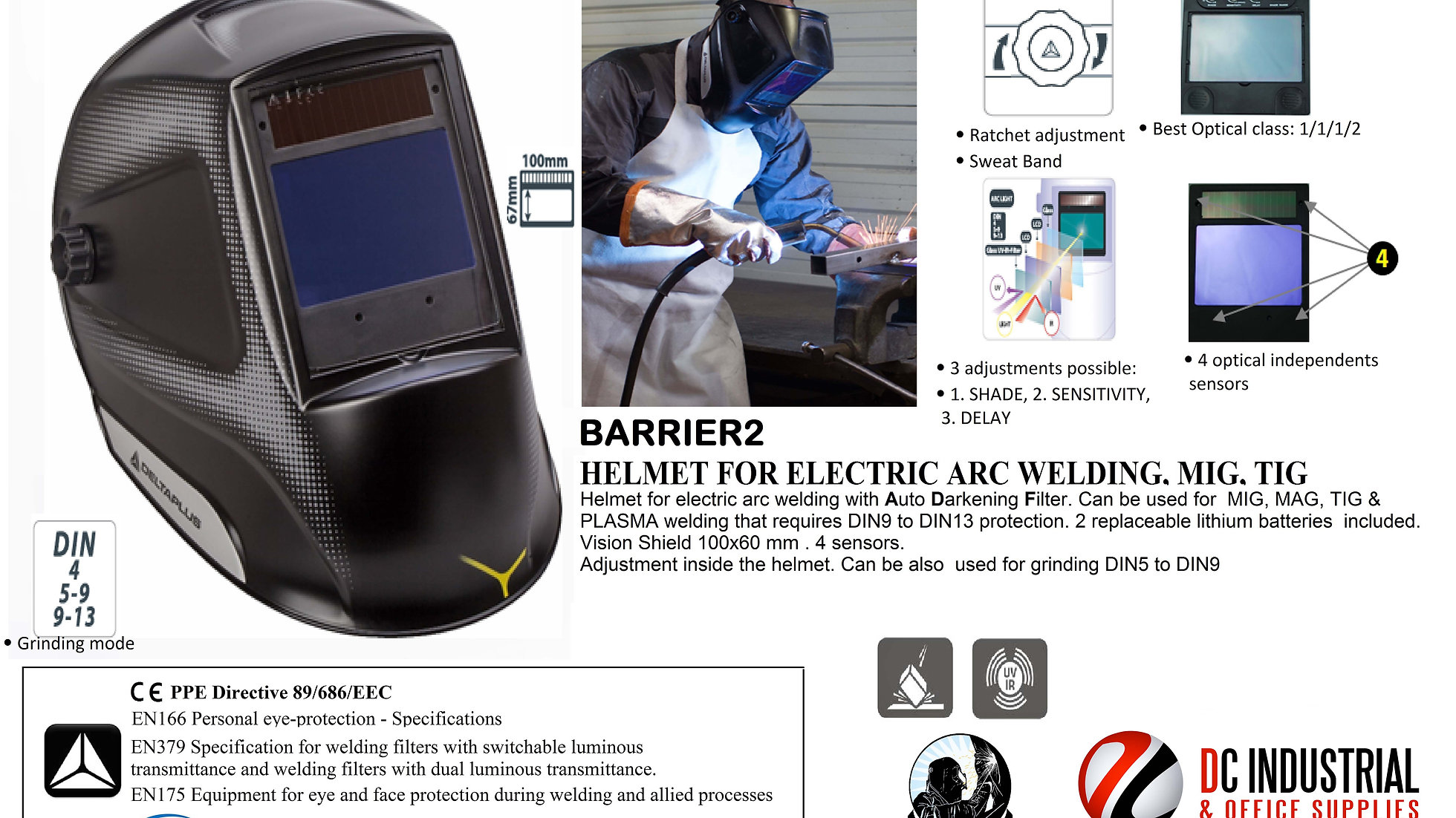 BARRIER2 HELMET FOR ELECTRIC ARC WELDING  MIG  TIG  | website