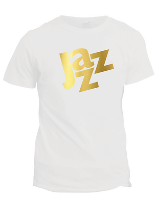 Jazz_White T-shirt with gold foil print