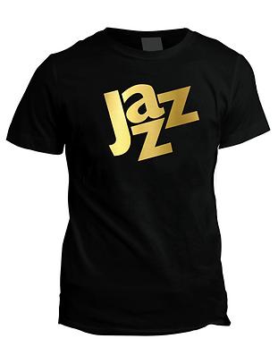 Jazz_Black T-shirt with gold foil print