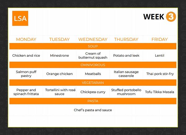 Cafeteria Menu (WEEK 3)