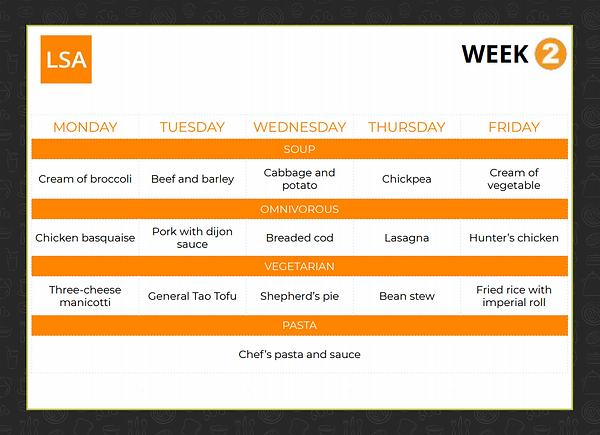 Cafeteria Menu (WEEK 2)