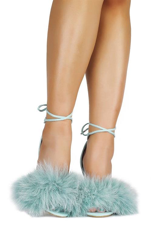 FURRIERY BRING IT FUR HEELED SANDAL-MINT